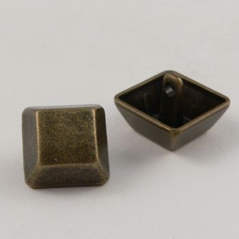 17mm Brass Square Contemporary Shank Metal Button
