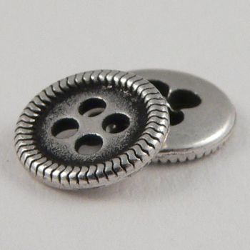 9mm Silver  Metal 4 Hole Shirt Button