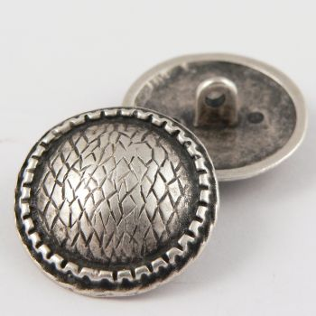 28mm Solid Silver Metal Snake Print Shank Button