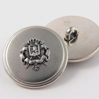 15mm Silver Coat of Arms Metal Shank Suit Button