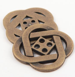 28mm Celtic Pattern Brass Metal 4 Hole Button
