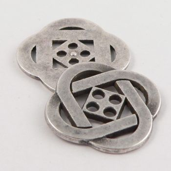 28mm Celtic Pattern Old Silver Metal 4 Hole Button