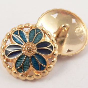 15mm Metal Gold and Blue Flower Shank Button