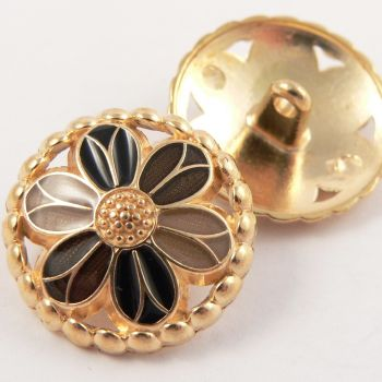 23mm Metal Gold and Browns Flower Shank Button