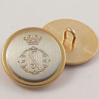 15mm Silver & Gold Coat of Arms Metal Shank Suit Button