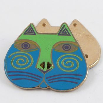28mm Solid Metal And Enamel 2 Hole Cat Shaped Button