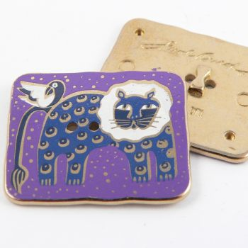 28mm Solid Metal And Enamel 2 Hole Cat & Bird Button