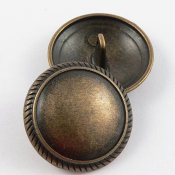 23mm Brass Metal Shank Button With A Patterned Rim