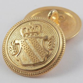 23mm Gold Coat of Arms Solid Metal Shank Suit Button