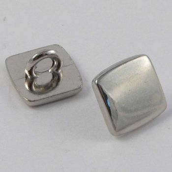 12mm Square Silver/Chrome Metal Shank Button