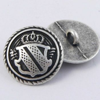 15mm Old Silver Coat of Arms Solid Metal Shank Suit Button