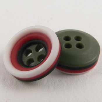 11mm Dark Olive Green Rubber 4 Hole Button