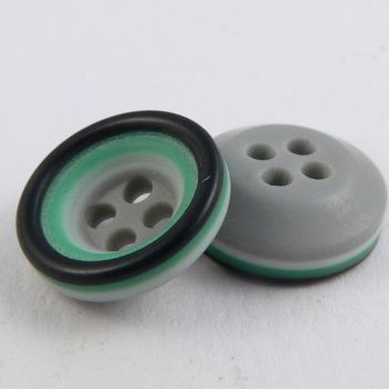 11mm Grey/Pea Green/white Rubber 4 Hole Button