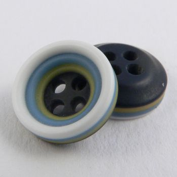 11mm Yellow Blue Black&white Rubber 4 Hole Button