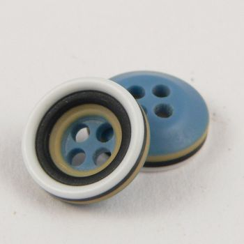 11mm Blue Mustard Grey Black & White Rubber 4 Hole Button