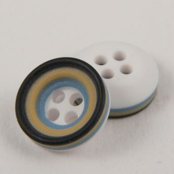 11mm Blue Black Mustard & White Rubber 4 Hole Button