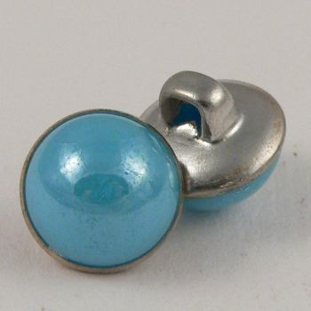 10mm Turquoise/Silver Domed Shank Sewing Button
