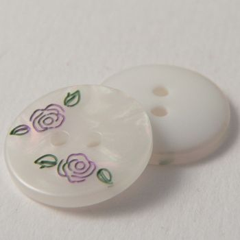 18mm Pearly 2 Hole Sewing Button With Etched Pink Flowers