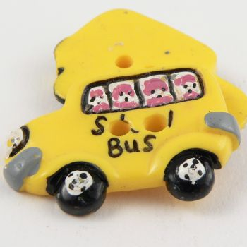 37mm Childrens Yellow School Bus 2 Hole Button