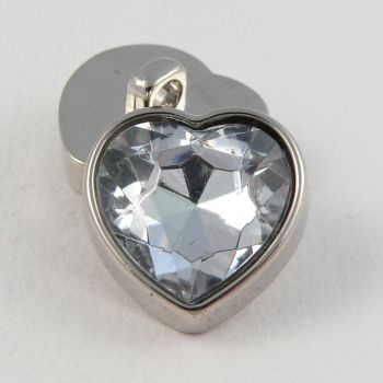 12mm Clear Crystal Heart Shank Button