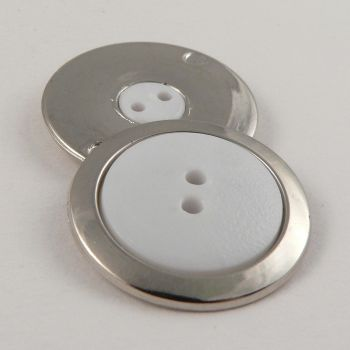 26mm Elegant Silver & White 2 Hole Coat Button