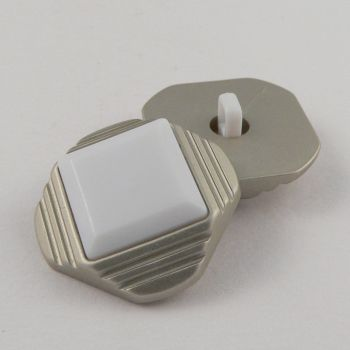 25mm White/Silver Pyramid Shank Coat Button