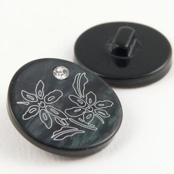 15mm Black & White Shank Sewing Button Set With A Diamante