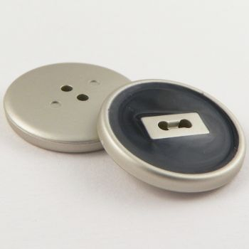21mm  Silver & Black 2 Hole Sewing Button