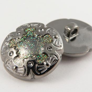22mm Silver Glittery Decorative Shank Sewing Button