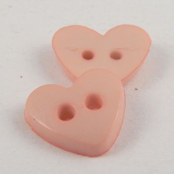 7mm Heart 2 Hole Pink Button