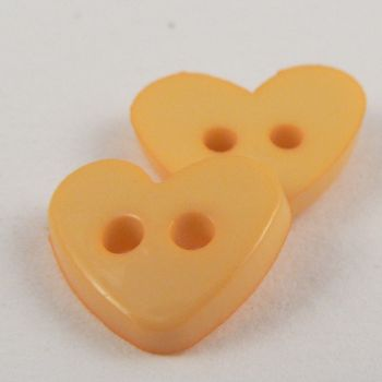10mm Heart 2 Hole Yellow Button