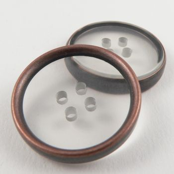 28mm 4 Hole Bronzed Rimmed Coat Button