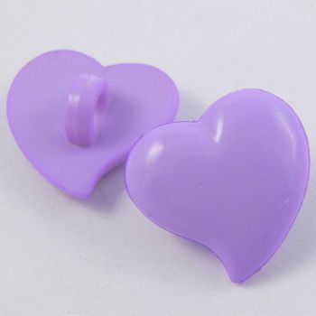 14mm Domed Lilac Heart Shank Button