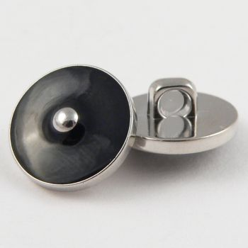 10mm Black/Silver Enamel Contemporary Shank Sewing Button