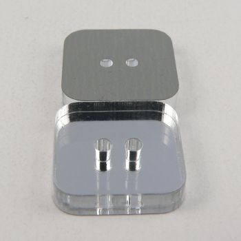 22mm Square  Mirror 2 Hole Button