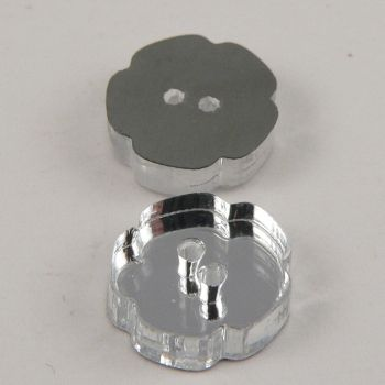 15mm Flower Clear Mirror 2 Hole Button