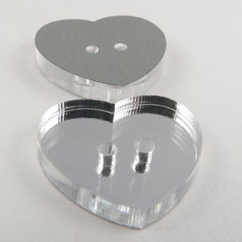 11mm Heart Mirror 2 Hole Button