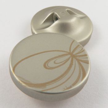 25mm Silver/Gold Contemporary Print Shank Coat Button