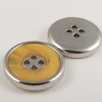 22mm Yellow Marble Effect Rimmed Silver 4 Hole Sewing Button