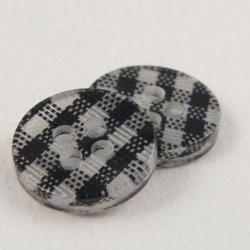 13mm Black Checked 4 Hole Shirt/Sewing Button