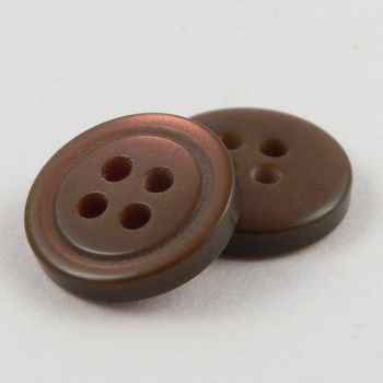 10mm Brown Shirt Style 4 Hole Button