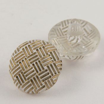 13mm Criss-Cross Gold Domed Shank Sewing Button