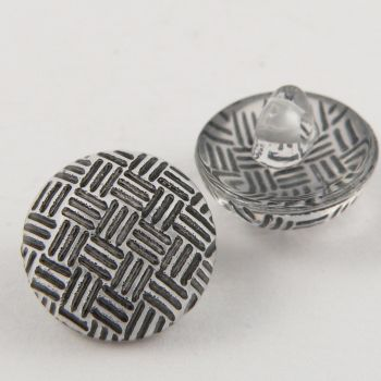 13mm Criss-Cross Black Domed Shank Sewing Button