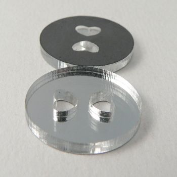 13mm Clear Mirror 2 Hole Button With Heart Shaped Holes