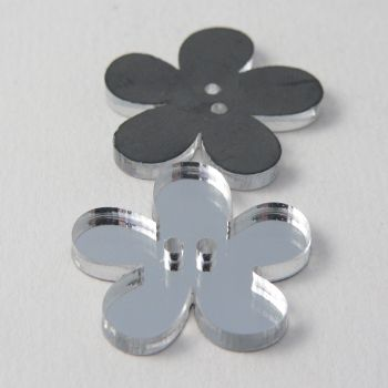 25mm Clear Mirror Flower 2 Hole Button