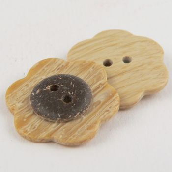 23mm Wood/Coconut Effect Flower 2 Hole Sewing Button