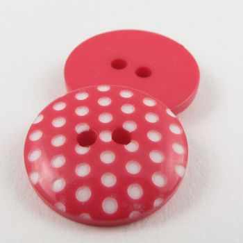 15mm Italian Pink Spotty Design 2 Hole Sewing Button