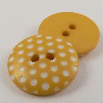 15mm Italian Yellow Spotty Design 2 Hole Sewing Button