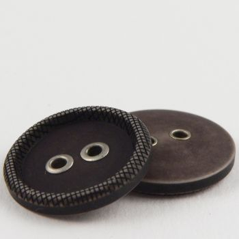 22mm Leather Look Eyelet 2 Hole Suit Button