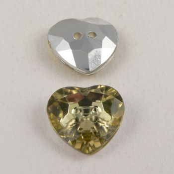 14mm Pale Yellow 2 Hole Faceted Heart Button